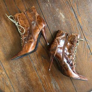 Nine West leather bootie heels